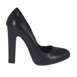 Zapato de salon para mujer en piel negra con plataforma interna tacon 10 - Tallas disponibles:  31