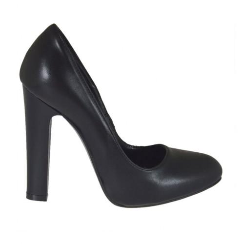 magasin d'usine 4a95e a4059 Escarpin pour femmes en cuir noir avec plateforme interieur talon 10