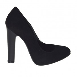 Woman's pump in black suede with inner platform heel 10 - Available sizes:  31, 32, 34