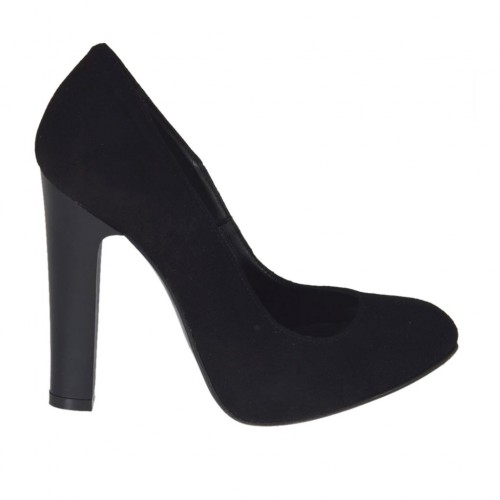 Woman's pump in black suede with inner platform heel 10 - Available sizes:  31, 32