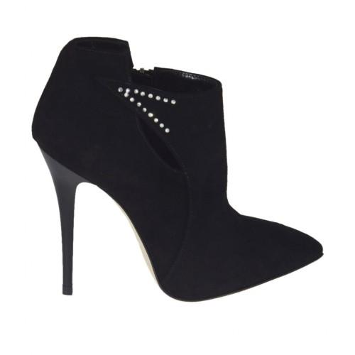 Zapato para mujer con cremallera y estrases en gamuza negra tacon 10 - Tallas disponibles:  31, 32, 42, 43, 45