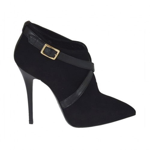 Woman's highfronted shoe in black suede and leather with zipper and buckle heel 10 - Available sizes:  42, 45, 46