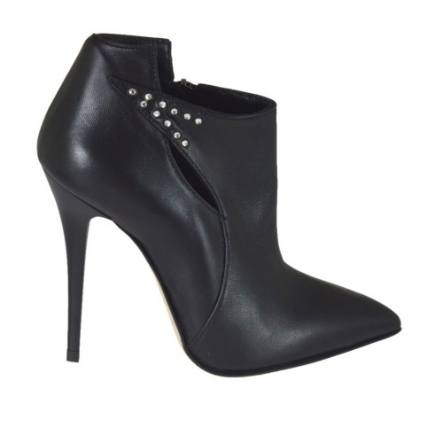Woman's highfronted shoe in black leather with zipper and rhinestones heel 10 - Available sizes:  42