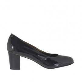 Zapato de salon para mujer en charol negro tacon cuadrado 5 - Tallas disponibles:  32, 33, 34, 42, 43, 44, 45