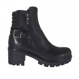 Woman's ankle boot with zippers and buckle in black leather and quilted leather heel 6 - Available sizes:  32, 33, 34, 43, 44