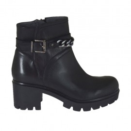 Woman's ankle boot with zipper, buckle and chain in black leather heel 6 - Available sizes:  33, 34, 44, 45