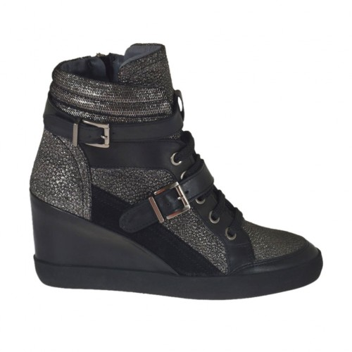 Woman's laced shoe with zipper and buckles in black leather and suede and gunmetal printed leather wedge heel 7 - Available sizes:  43