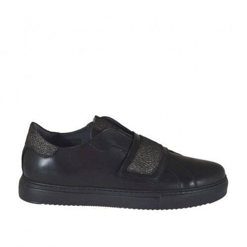 Woman's shoe with velcro strap in gunmetal printed leather and black leather wedge heel 2 - Available sizes:  42