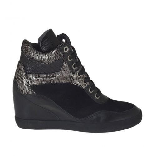 Piel Cremallera Mujer Con Gamuza Zapato Cordones Y Tejido En Para I4YUwTqAn