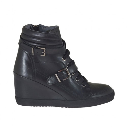 Woman's laced shoe with zipper and buckles in black leather wedge heel 7 - Available sizes:  43