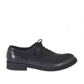 Chaussure richelieu à lacets pour hommes en cuir noir - Pointures disponibles:  36, 37, 38, 47, 48, 49, 50