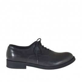Men's laced Oxford shoe in black leather - Available sizes:  36, 38, 48, 50