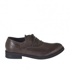 Men's laced Oxford shoe in brown leather - Available sizes:  37, 38, 47, 48, 49