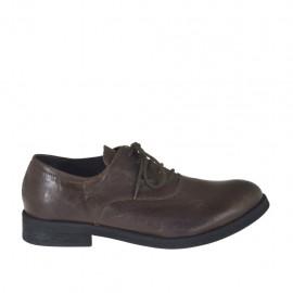 Zapato oxford con cordones para hombre en piel marron - Tallas disponibles:  36, 37, 38, 47, 48, 49, 50