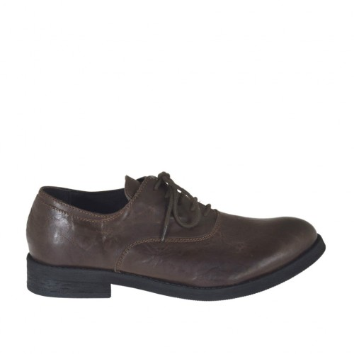 Men's laced Oxford shoe in brown leather - Available sizes:  36, 37, 38, 47, 48, 49