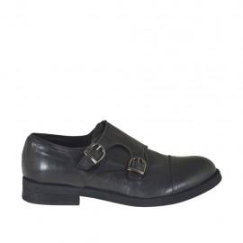 Elégant chaussure pour hommes avec bout droit et deux boucles en cuir noir - Pointures disponibles:  36, 37, 38, 50