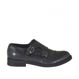 Men's elegant shoe with two buckles in black leather - Available sizes:  36, 37, 38, 47, 48, 50