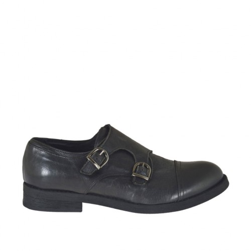 Men's elegant shoe with captoe and two buckles in black leather - Available sizes:  37, 38, 50