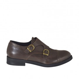 Men's elegant shoe with captoe and two buckles in brown leather - Available sizes:  36, 37, 38, 48, 50