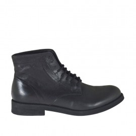 Men's laced ankle boot in black leather  - Available sizes:  36, 37, 38, 46, 47, 48, 49, 50