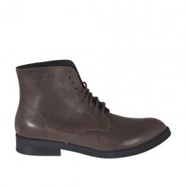 Bottines à lacets pour hommes en cuir marron - Pointures disponibles:  37, 38, 47, 48, 49, 50