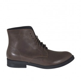 Men's laced ankle boot in brown leather - Available sizes:  37, 38, 47, 48, 49, 50