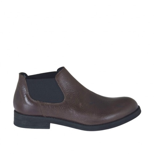 Man's highfronted shoe with rubber bands in brown leather  - Available sizes:  36, 37, 47, 48, 50
