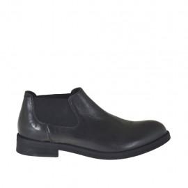 Zapato alto al tobillo para hombres con elasticos en piel negra - Tallas disponibles:  36, 37, 38, 47, 48, 49