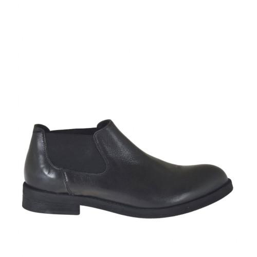 Knöchelhoher Herrenschuh mit Gummibändern aus schwarzem Leder - Verfügbare Größen:  37, 38, 48