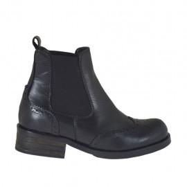 Stivaletto da donna con elastici laterali in pelle nera stile inglese tacco 3 - Misure disponibili: 33, 43, 45