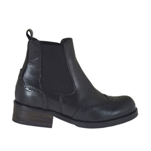 Woman's ankle boot with elastic bands and decorations in black leather heel 3 - Available sizes:  33, 45