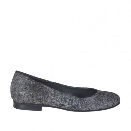 Woman's rounded ballerina shoe in printed suede with rocklike texture heel 1 - Available sizes:  33, 34, 42, 43, 44, 45, 46