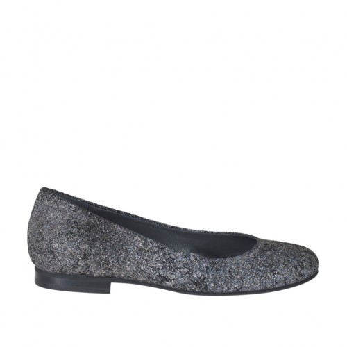 Woman's rounded ballerina shoe in printed suede with rocklike pattern heel 1 - Available sizes:  33