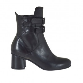 Woman's ankle boot with zipper and buckles in black leather heel 5 - Available sizes:  32, 33, 34, 42, 43, 44, 45