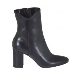 Woman's ankle boot with inner zipper in black leather heel 7 - Available sizes:  32, 33, 34, 42, 43