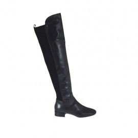 Bottes au-dessus de genou pour femmes en cuir et daim élastique noir avec talon 2 - Pointures disponibles:  33