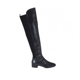 Woman's over-the-knee boot in black leather and elastic suede heel 2 - Available sizes:  33