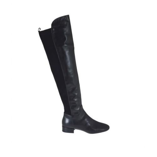 Stivale alto sopra al ginocchio da donna in pelle e camoscio elasticizzato nero tacco 2 - Misure disponibili: 33