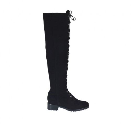 Woman's boot with decorative zipper and laces in black suede heel 3 - Available sizes:  33