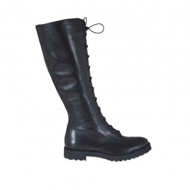 Woman's laced boot with zipper in black leather heel 3 - Available sizes:  33, 34, 45, 46