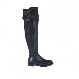 Kniehoher Damenstiefel mit Reißverschluss und Schnalle aus schwarzem Leder Absatz 3 - Verfügbare Größen:  33, 34