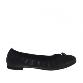 Woman's ballerina shoe with tassels in black leather heel 1 - Available sizes:  42, 43, 44, 45, 46, 47