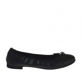 Zapato bailerina para mujer con borlas en piel negra tacon 1 - Tallas disponibles:  42, 43, 44, 45, 46, 47