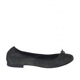 Bailarina para mujer con moño en gamuza gris tacon 1 - Tallas disponibles:  43, 44, 45, 46, 47