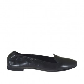 Woman's mocassin with elastic band in black leather heel 1 - Available sizes:  43, 44