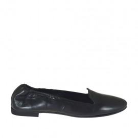 Zapato mocasino con elastico para mujer en piel color negro tacon 1 - Tallas disponibles:  43, 44