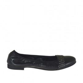 Zapato bailarina para mujer con tachuelas en piel negra tacon 1 - Tallas disponibles:  33, 42, 43, 44, 45, 47