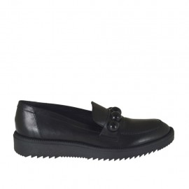 Woman's moccasin shoe in black leather with pearls wedge heel 3 - Available sizes:  42, 43, 44, 45, 46