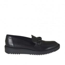 Zapato mocasin para mujer en piel negra con perlas cuña 3 - Tallas disponibles:  42, 43, 44, 45, 46