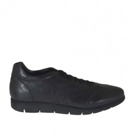 Chaussure sportif à lacets en cuir noir pour hommes  - Pointures disponibles:  46, 47, 48, 49, 50, 51, 52